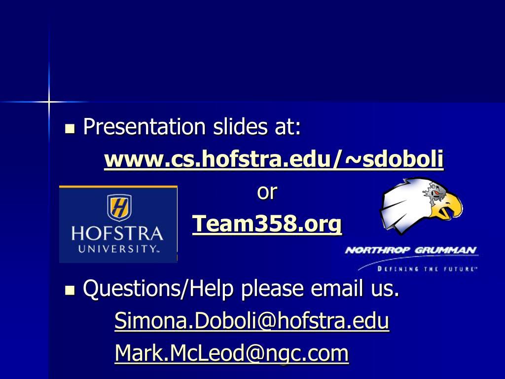 Presentation slides at:
