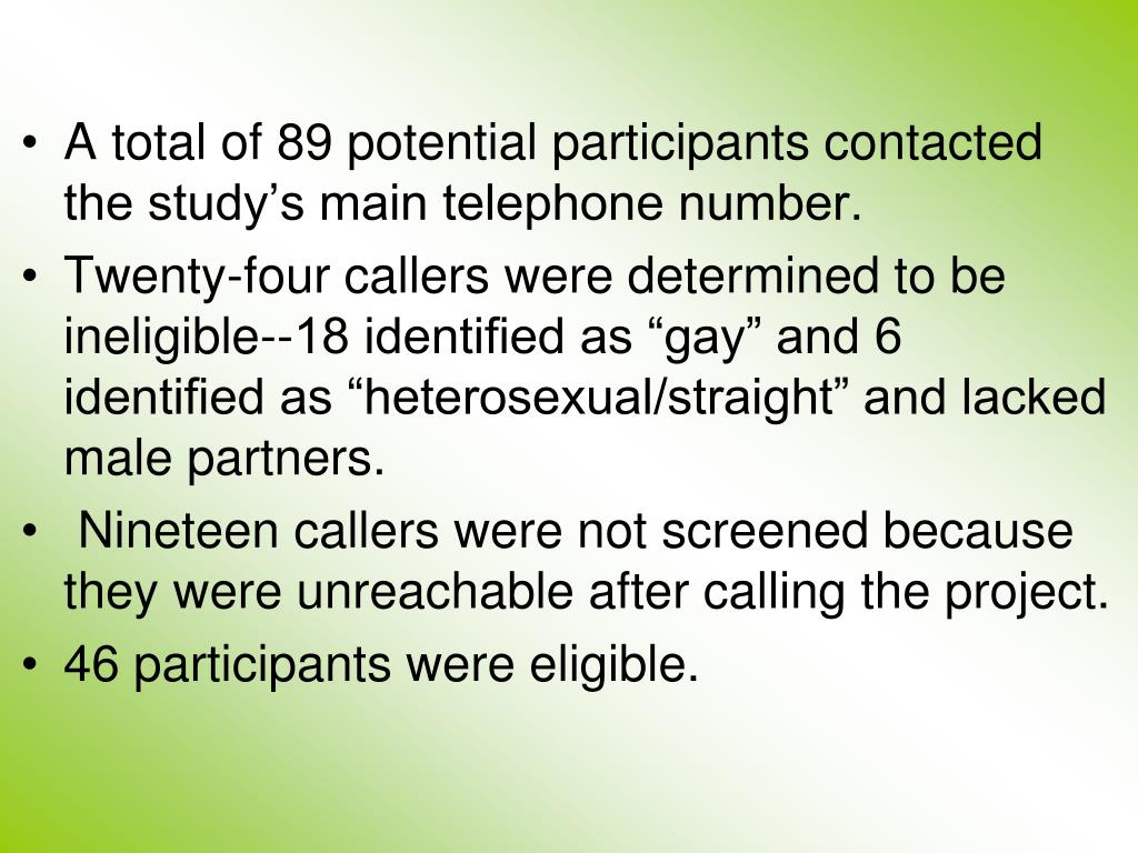 A total of 89 potential participants contacted the study's main telephone number.