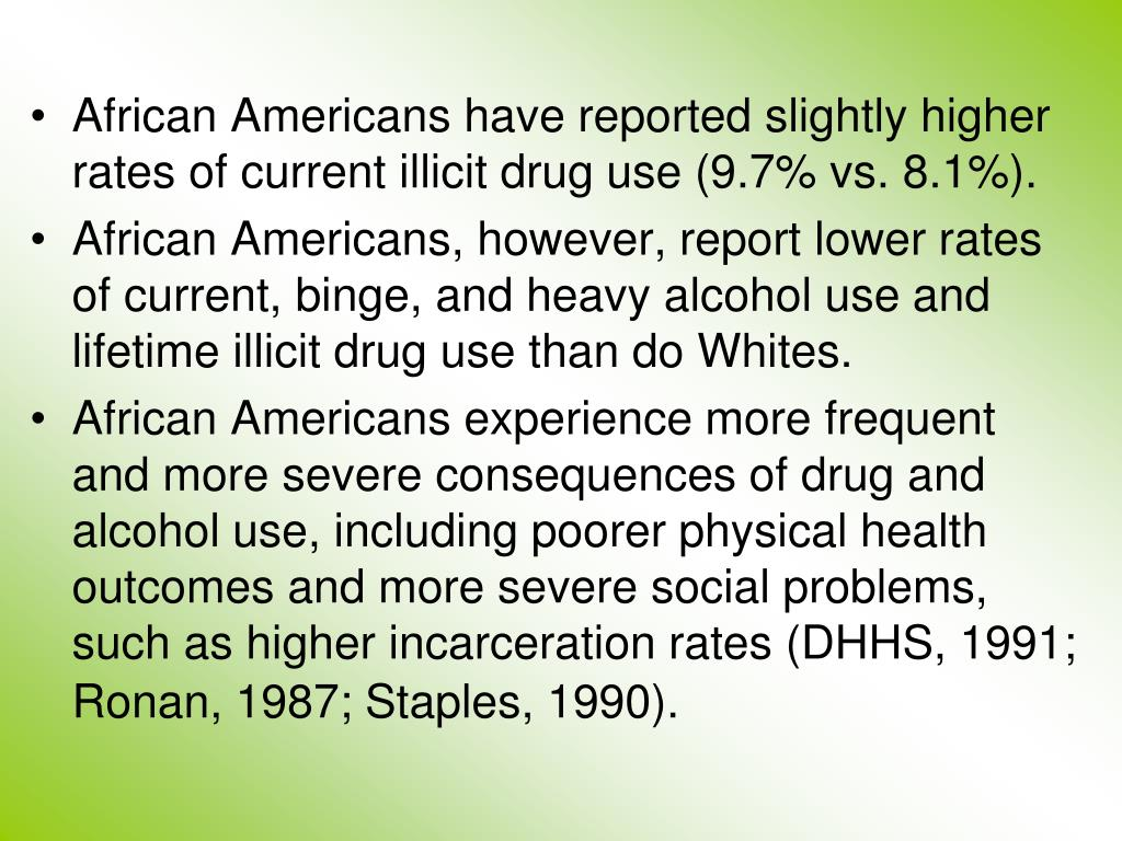 African Americans have reported slightly higher rates of current illicit drug use (9.7% vs. 8.1%).