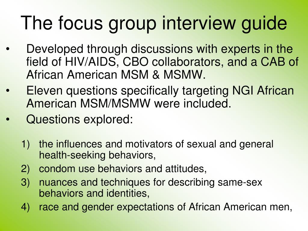 The focus group interview guide