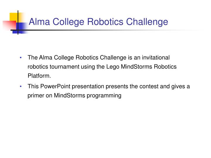 Alma College Robotics Challenge