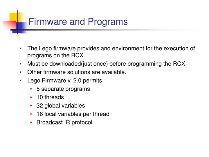 Firmware and Programs
