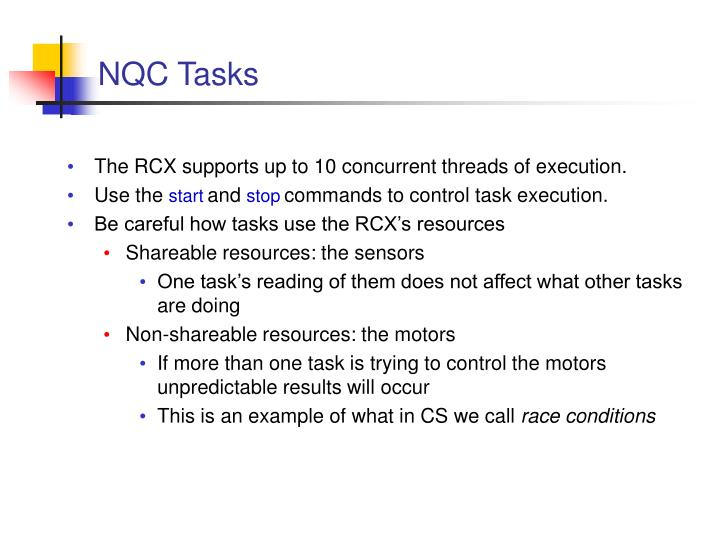 NQC Tasks