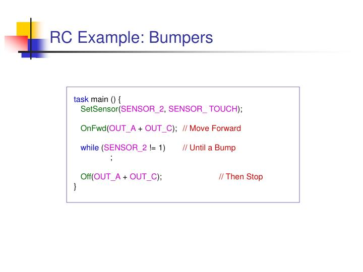RC Example: Bumpers