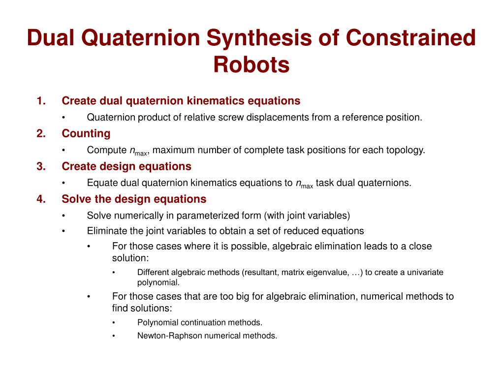 Dual Quaternion Synthesis of Constrained Robots