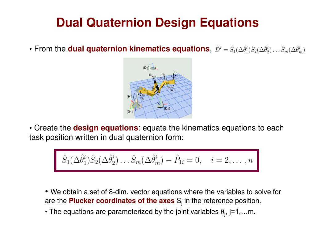 Dual Quaternion Design Equations