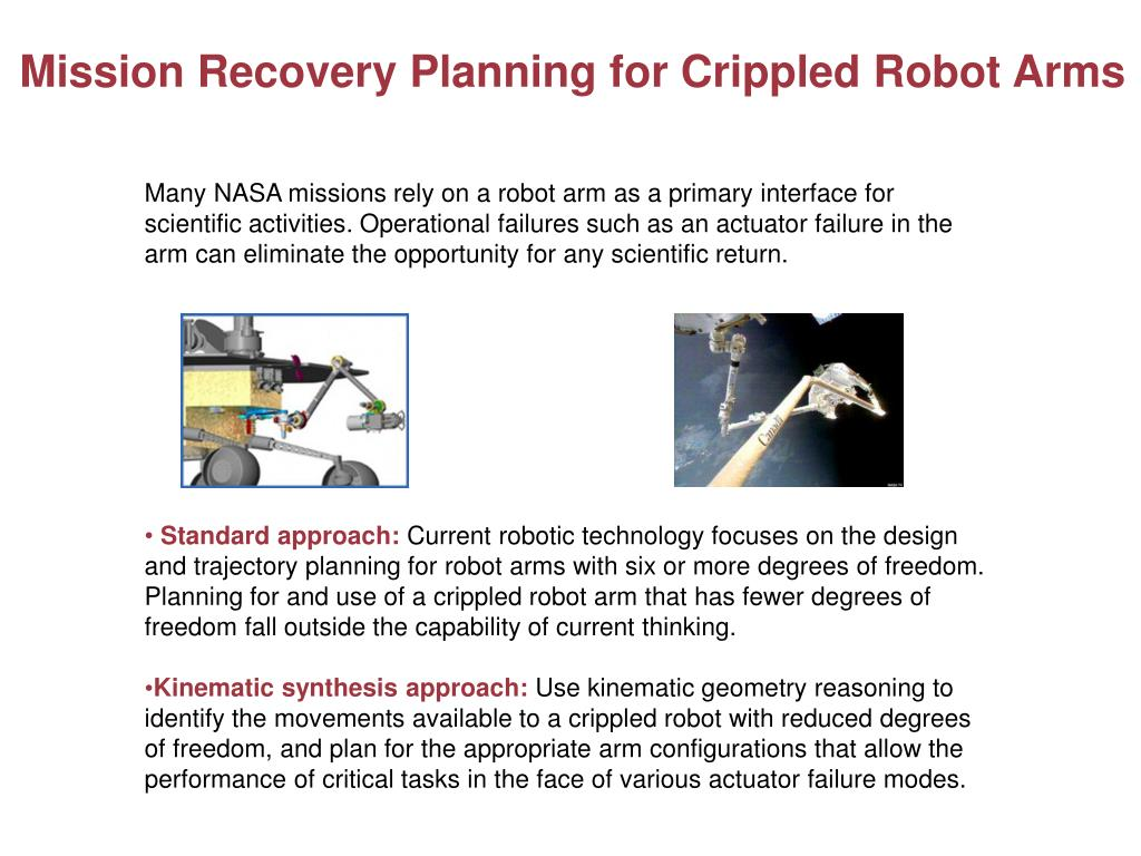Mission Recovery Planning for Crippled Robot Arms