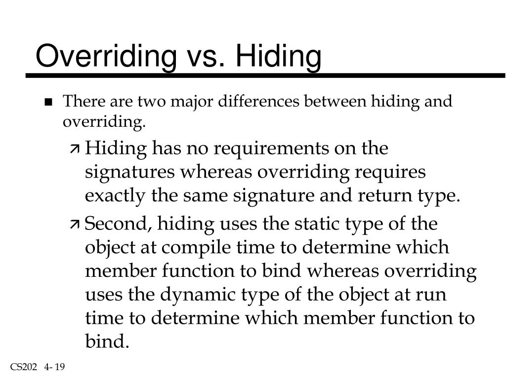 Overriding vs. Hiding