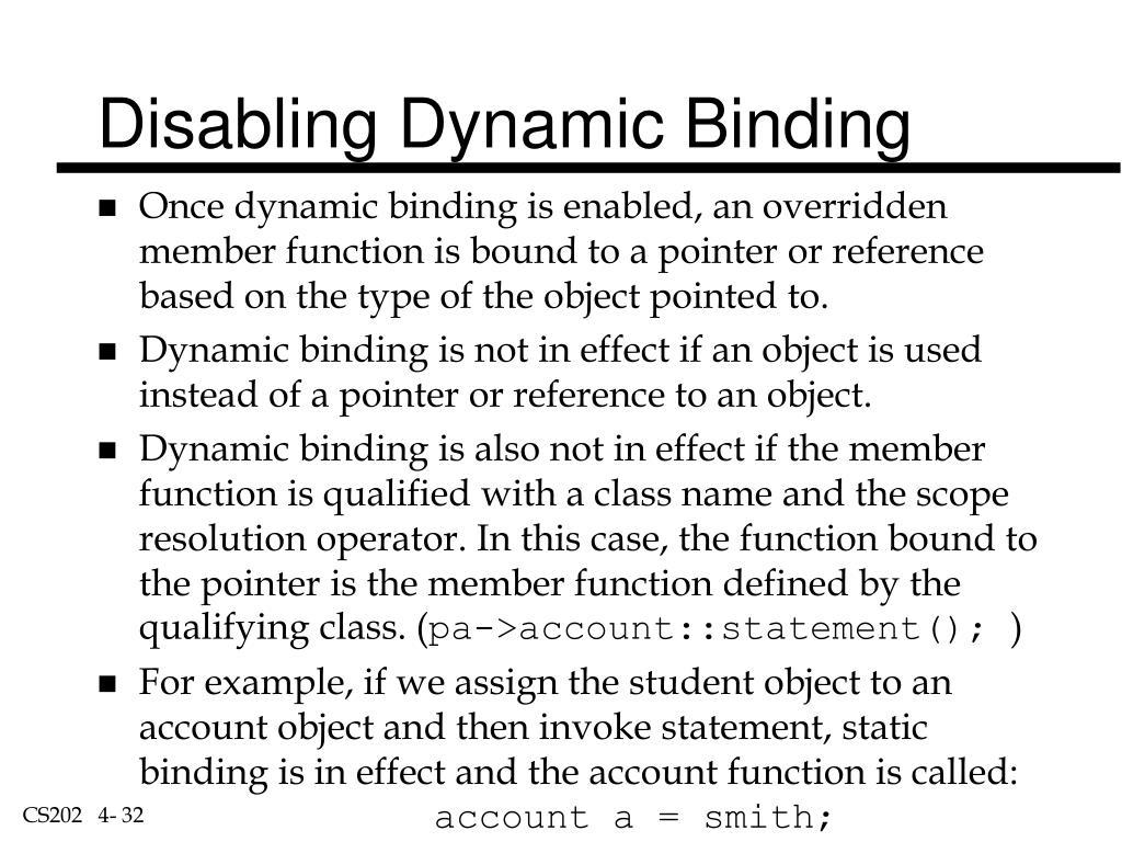 Disabling Dynamic Binding