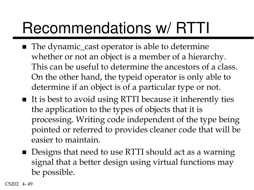 Recommendations w/ RTTI