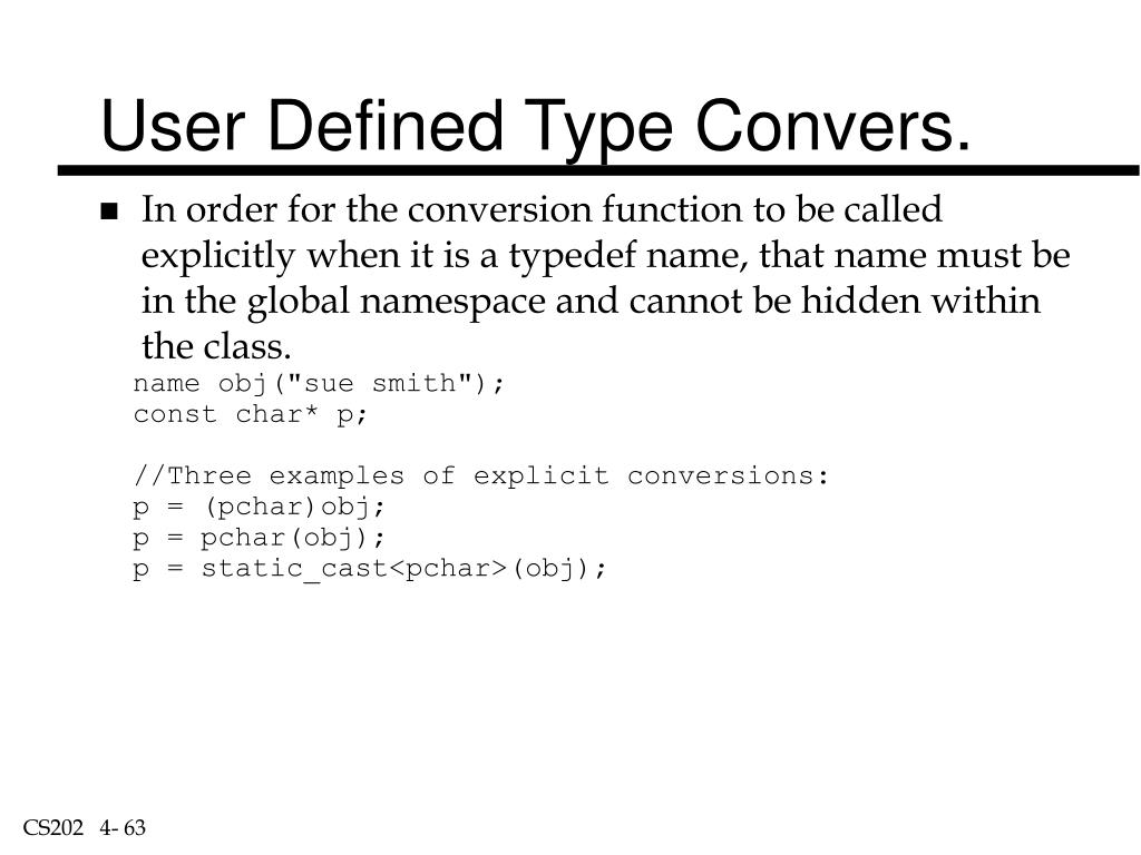 User Defined Type Convers.