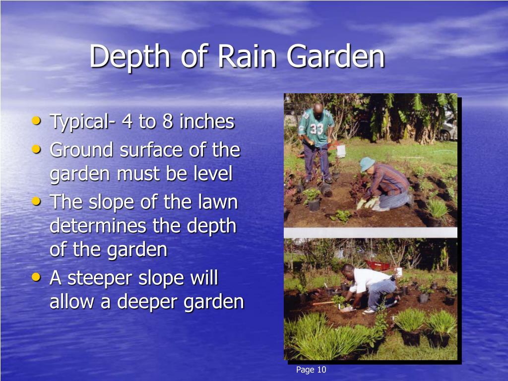 Depth of Rain Garden