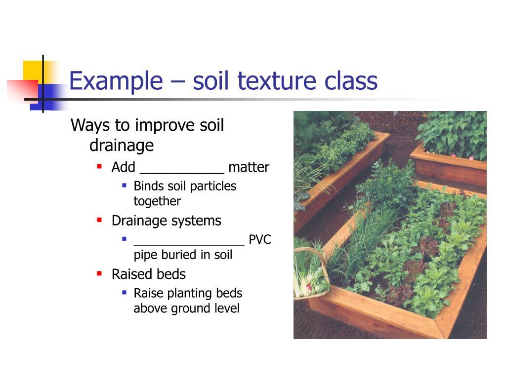 Example – soil texture class