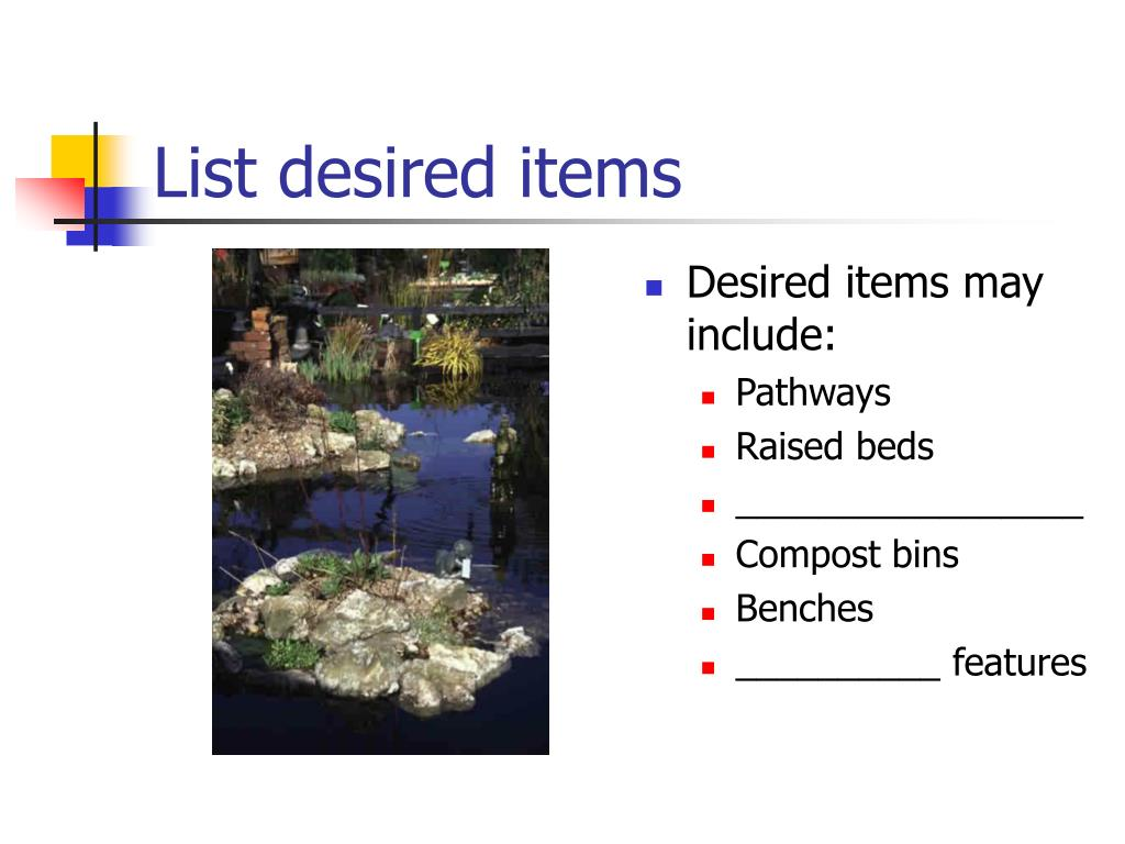 List desired items