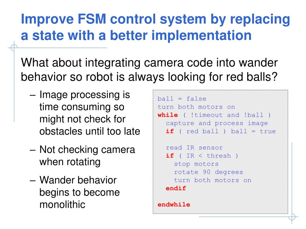 Improve FSM control system by replacing a state with a better implementation
