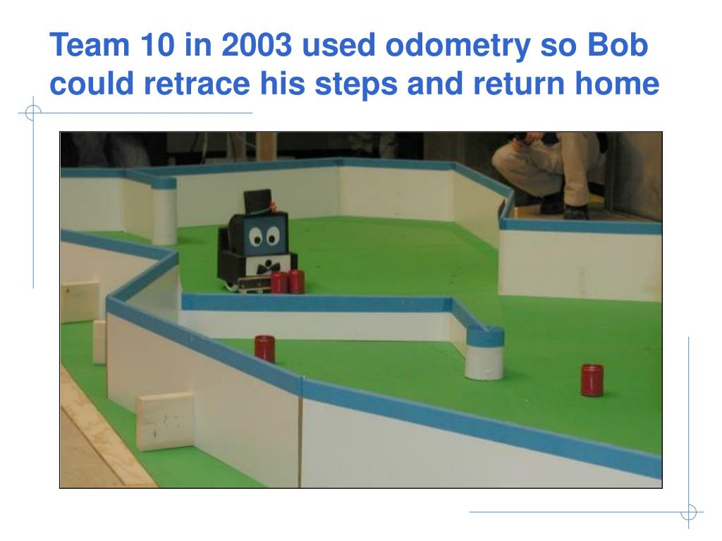 Team 10 in 2003 used odometry so Bob could retrace his steps and return home