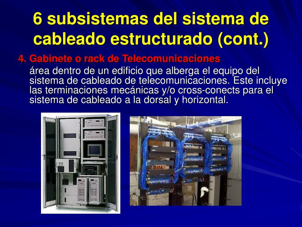 6 subsistemas del sistema de cableado estructurado (cont.)