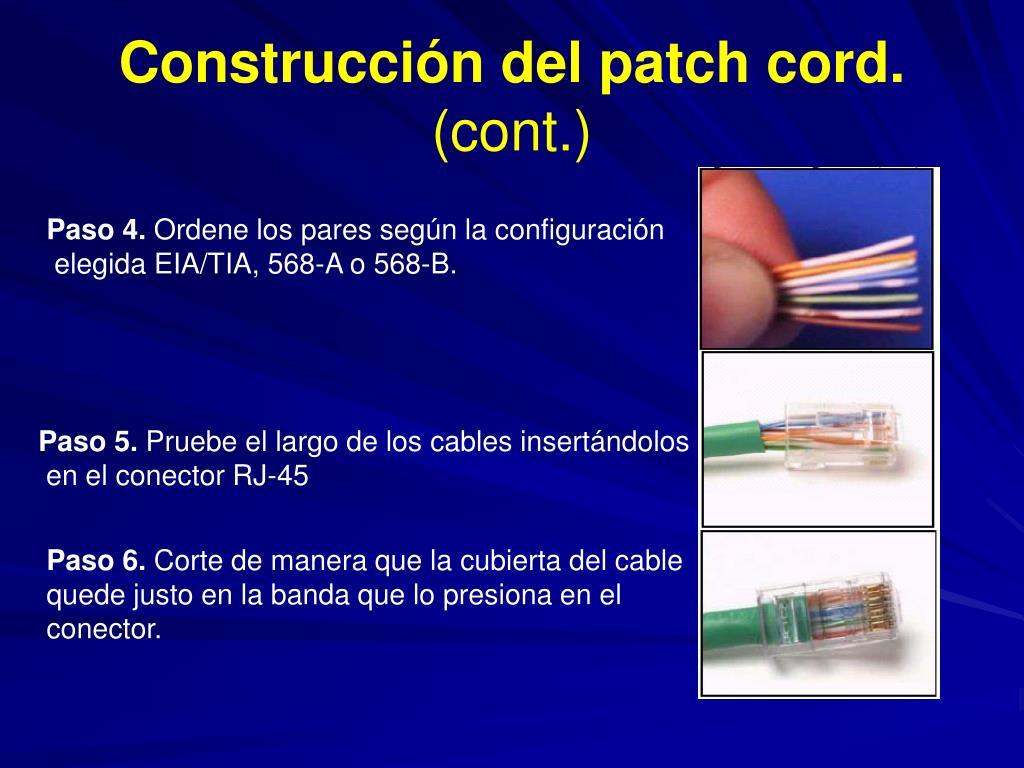 Construcción del patch cord.