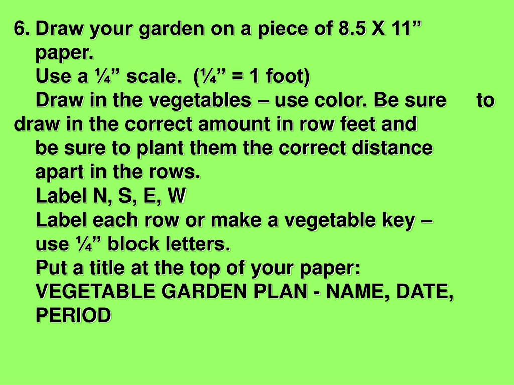 "6.	Draw your garden on a piece of 8.5 X 11"" 	paper."