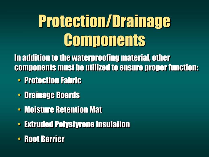 Protection/Drainage Components