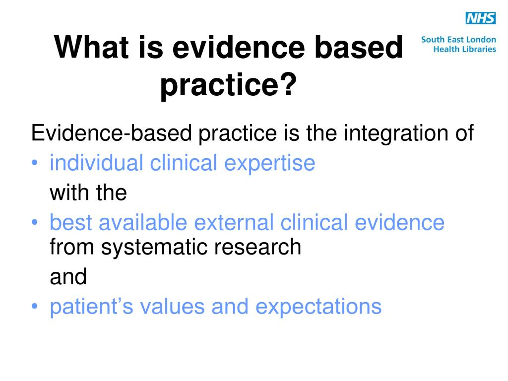my evidence based practice research paper In addition to using traditional and well-established procedures and practices, health care practitioners are adopting innovative interventions that are based on best practices as well as solid research-based evidence evidence-based practice (ebp) is one such technique and is quickly gaining popularity due to its potential.