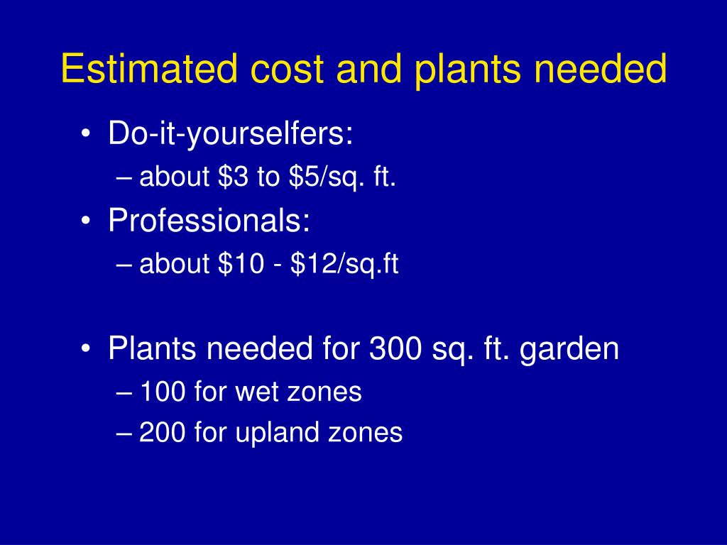 Estimated cost and plants needed