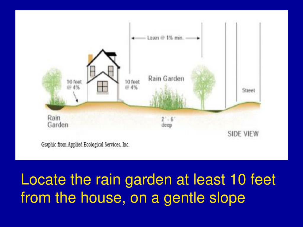 Locate the rain garden at least 10 feet from the house, on a gentle slope