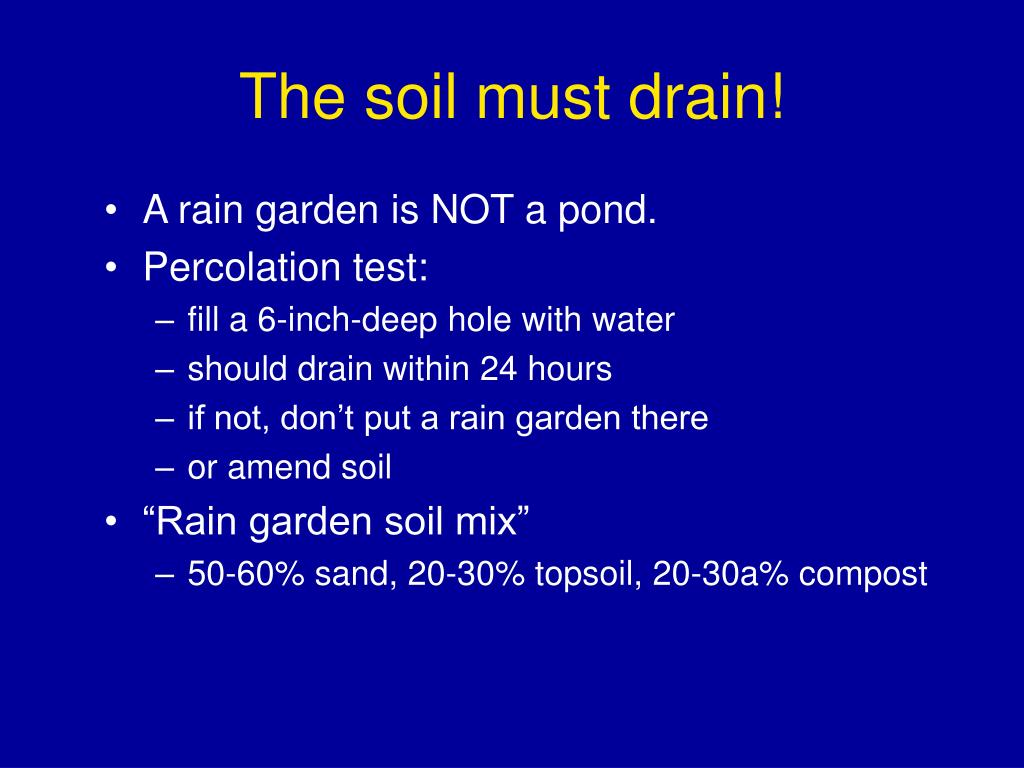 The soil must drain!
