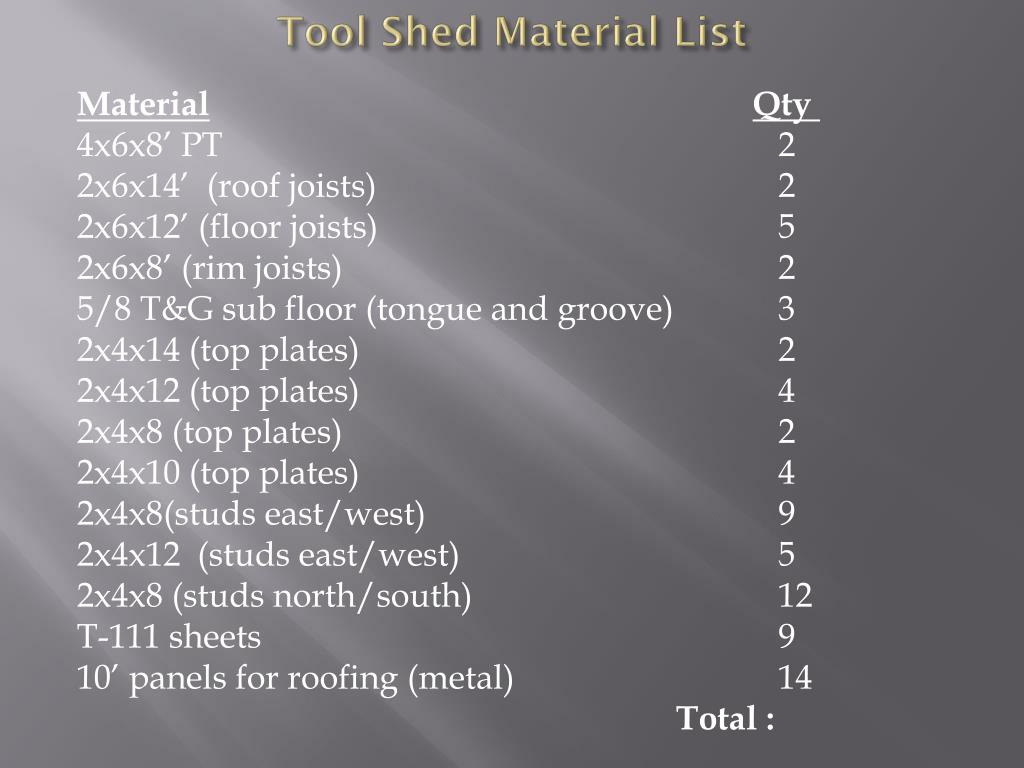 Tool Shed Material List