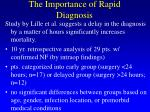 the importance of rapid diagnosis