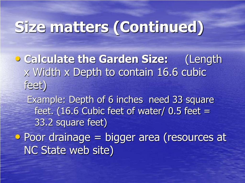 Size matters (Continued)