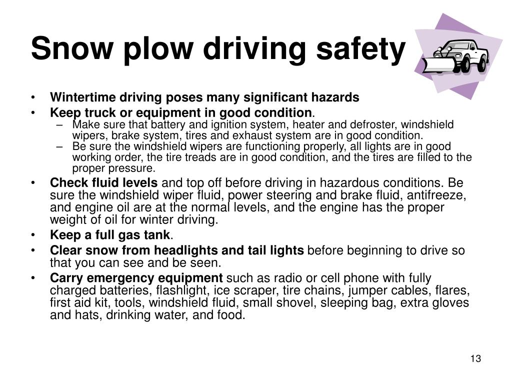 Snow plow driving safety