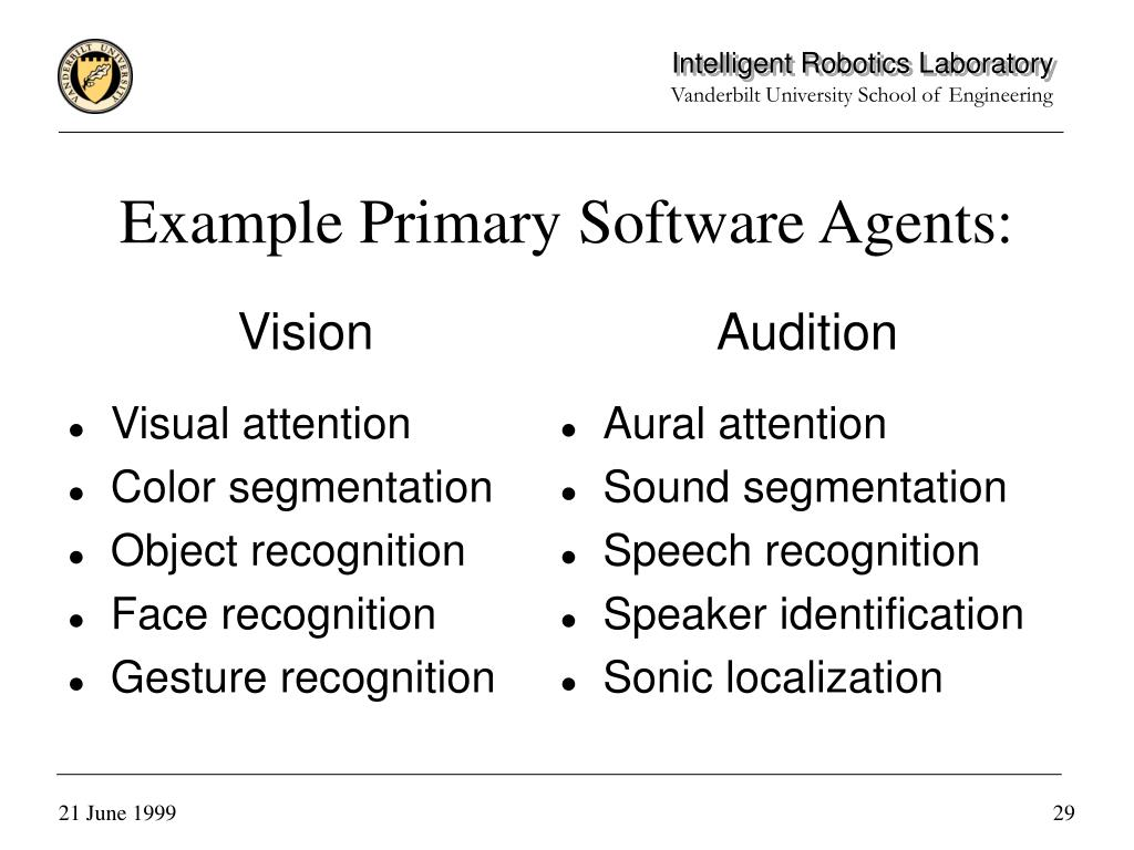 Example Primary Software Agents:
