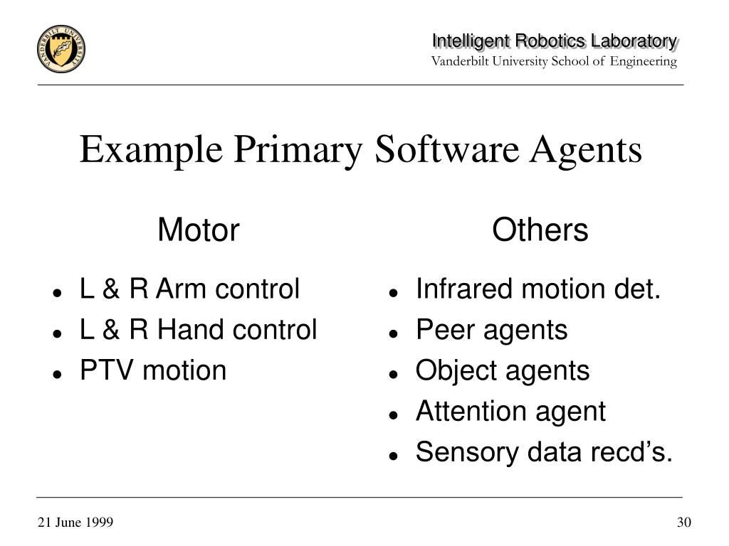 Example Primary Software Agents