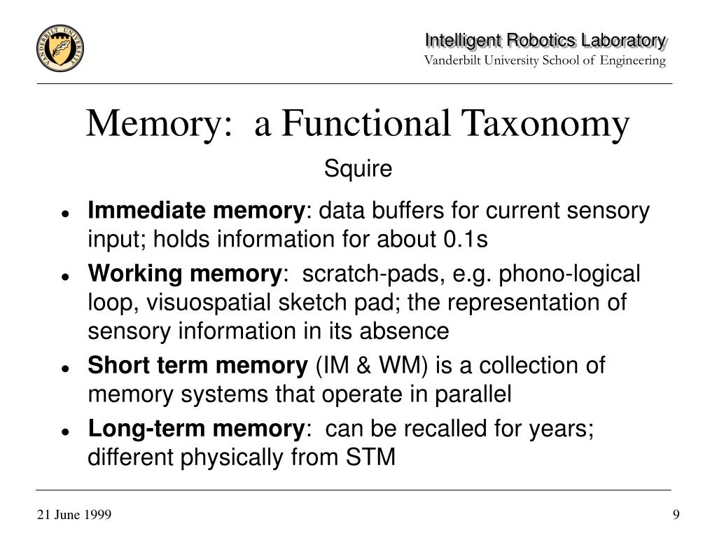 Memory:  a Functional Taxonomy