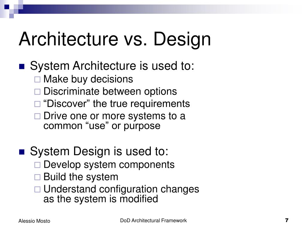 Architecture vs. Design