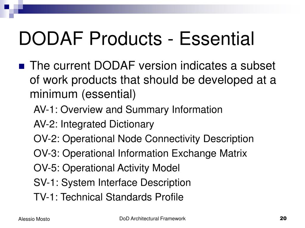 DODAF Products - Essential