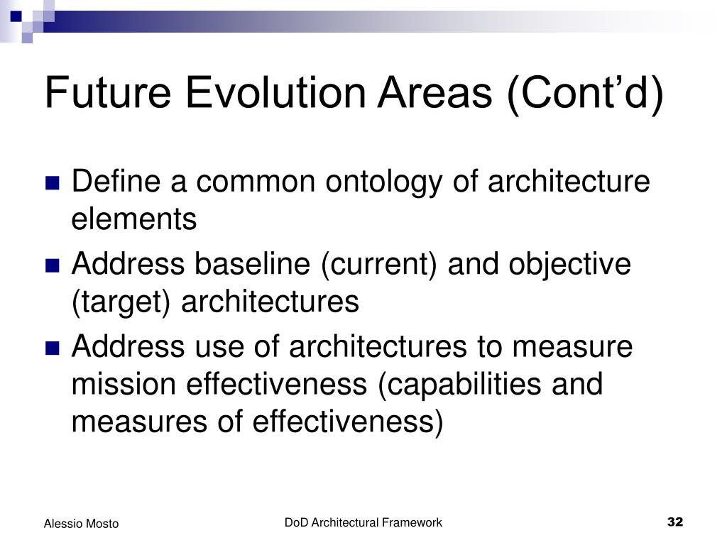 Future Evolution Areas (Cont'd)