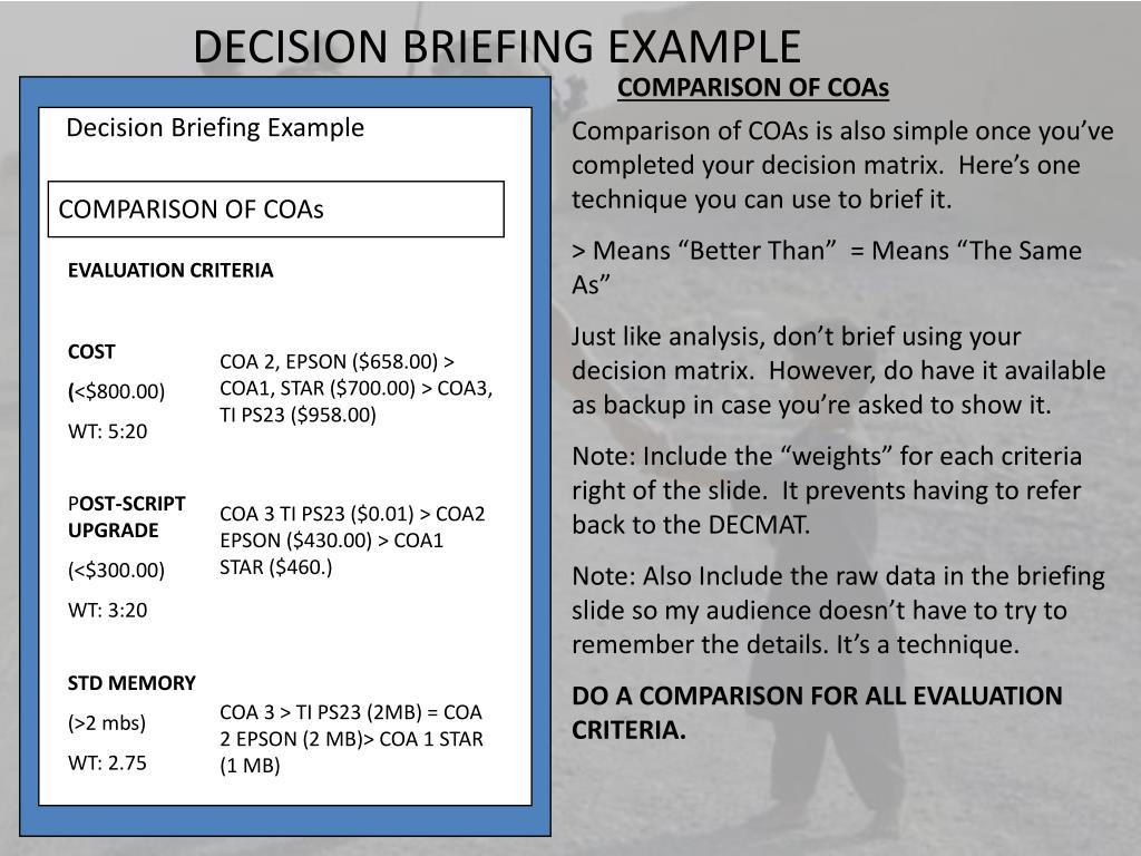 army briefing template - ppt the decision briefing powerpoint presentation id