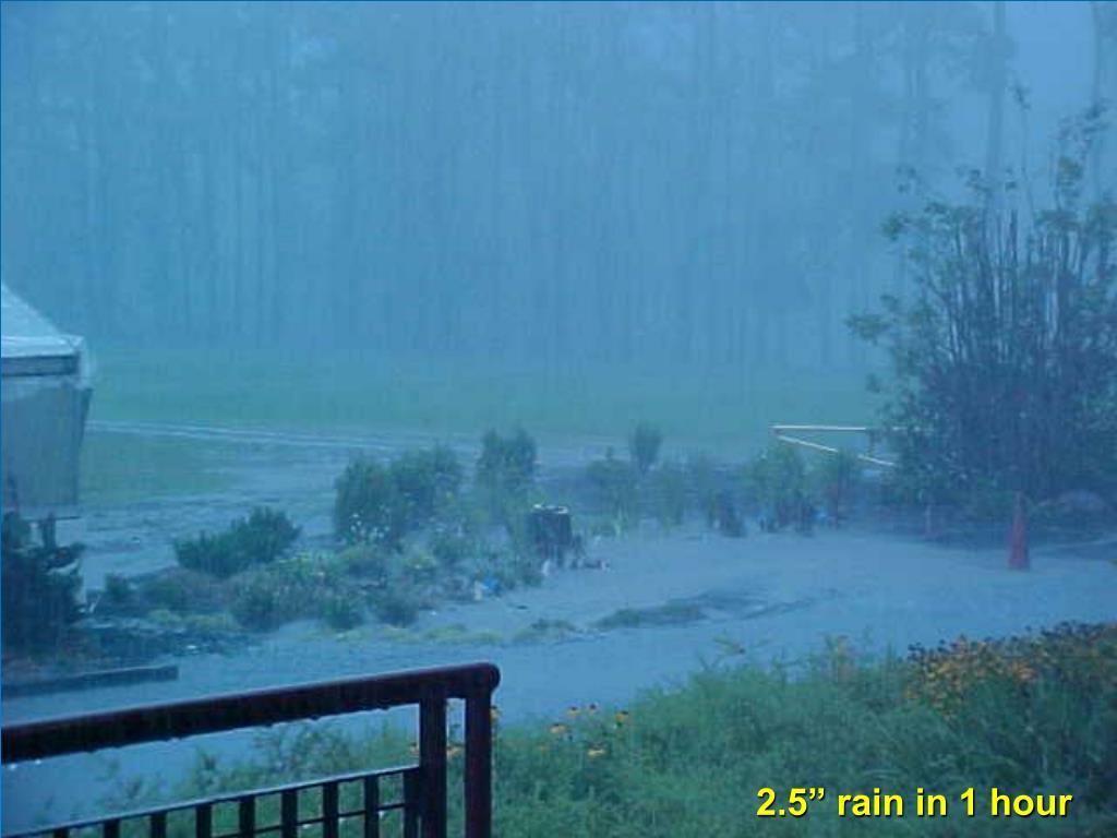 "2.5"" rain in 1 hour"