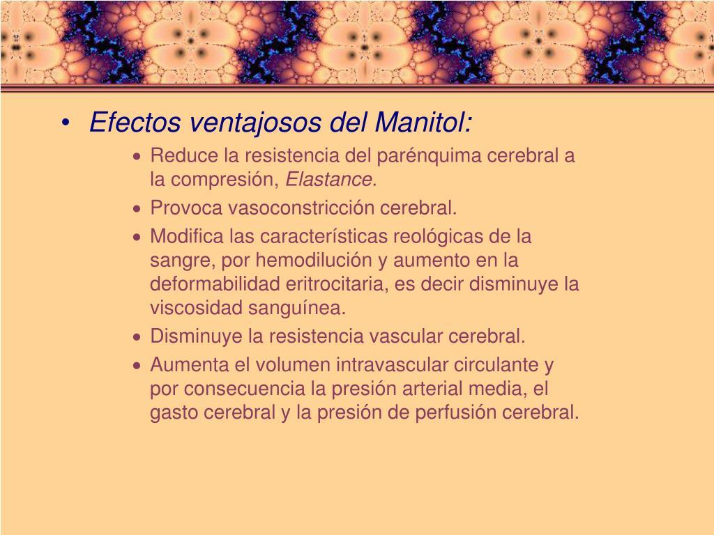 Efectos ventajosos del Manitol: