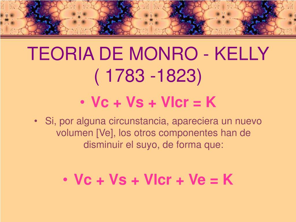 TEORIA DE MONRO - KELLY ( 1783 -1823)