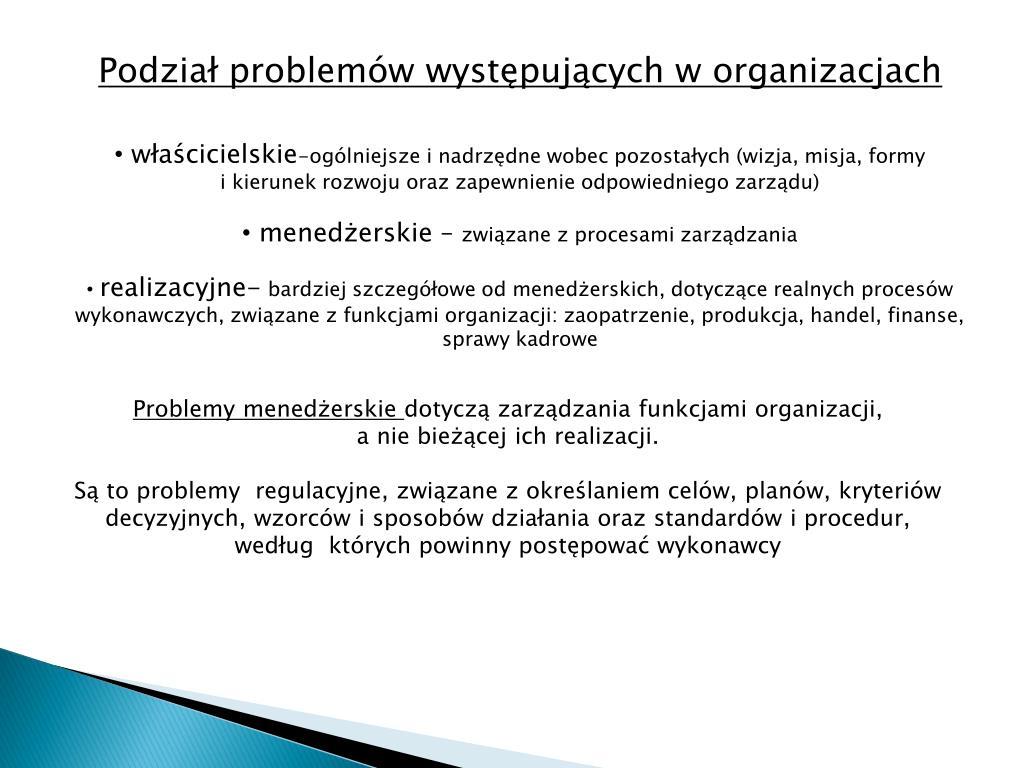 Podział problemów występujących w organizacjach