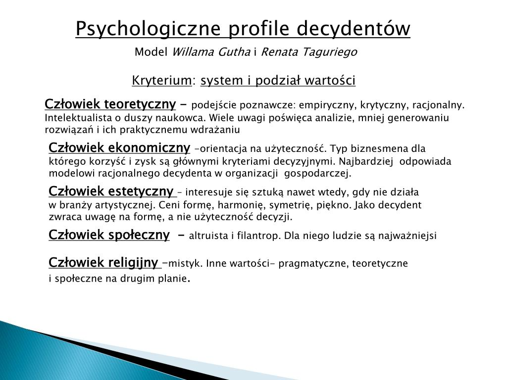 Psychologiczne profile decydentów