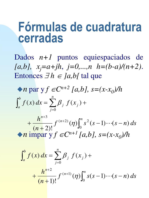 Fórmulas de cuadratura cerradas