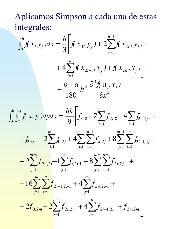 Aplicamos Simpson a cada una de estas integrales:
