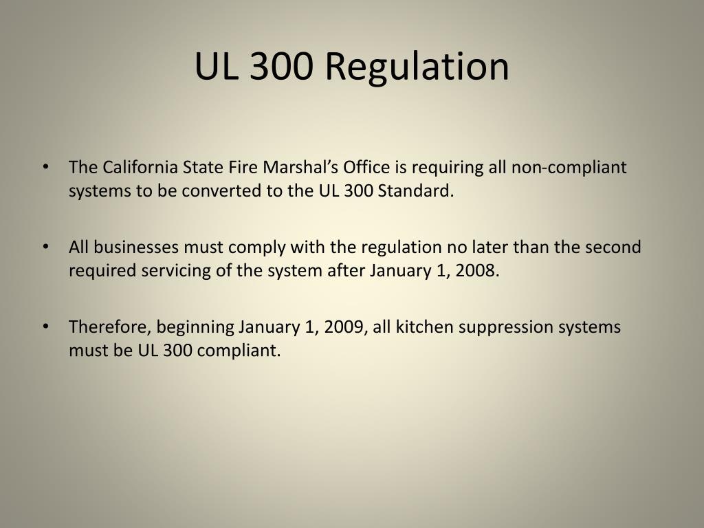 UL 300 Regulation