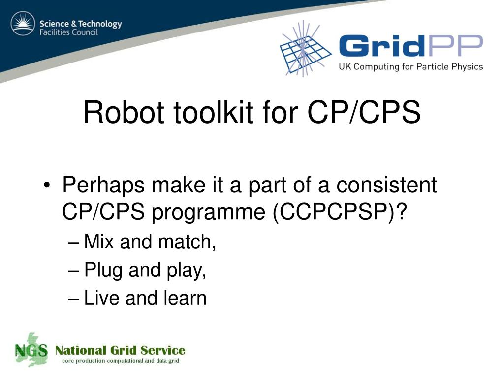 Robot toolkit for CP/CPS