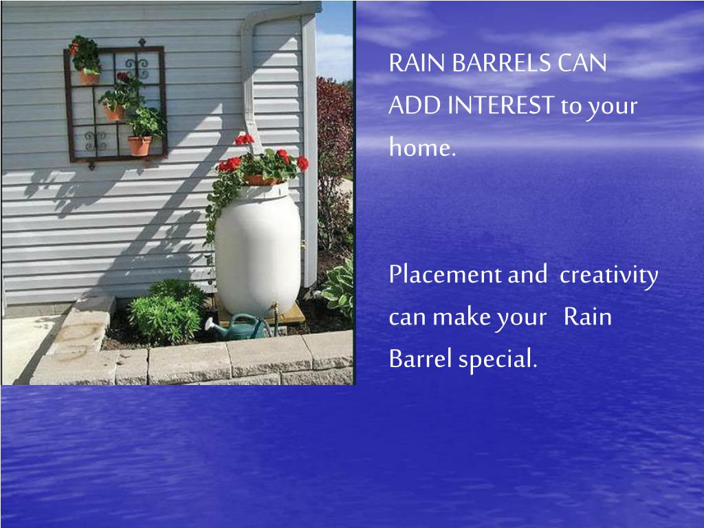 RAIN BARRELS CAN ADD INTEREST to your home.
