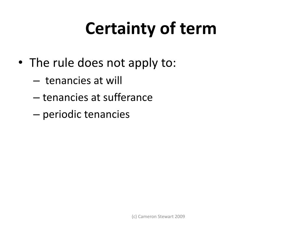Certainty of term
